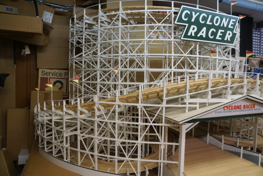 Partial model of the Cyclone Racer by Larry Osterhoudt.